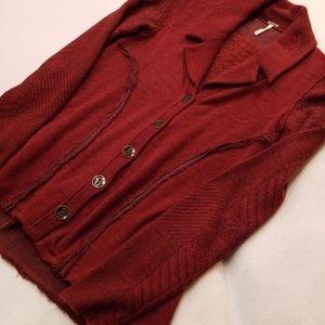 Free People Tailored Button Cardigan Split Back XS